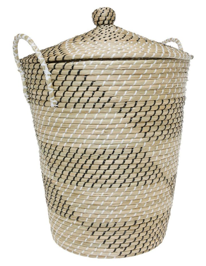 Woven Seagrass Storage Basket With Lid Image 1 Seagrass Storage
