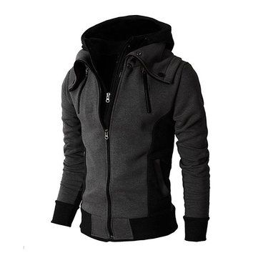 Men's Sports Warm Windproof Stand Collar Hooded Cotton Stitching Color Tops Zipper Sweatshirts at Banggood