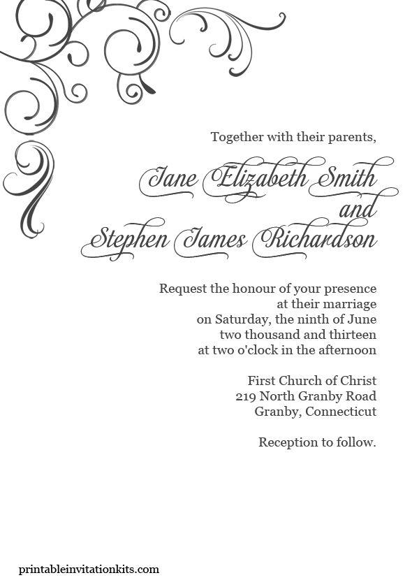 Simply elegant, swirls border invite. | Wedding Invitation ...