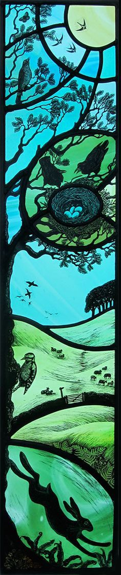 """""""Day"""" by stained glass artist, Tamsin Abbott.  Beautiful stained glass piece.  No copywrite info on her website.  If this repin in error please advise and I will remove."""