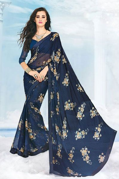 Casual Blue Printed Georgette Saree