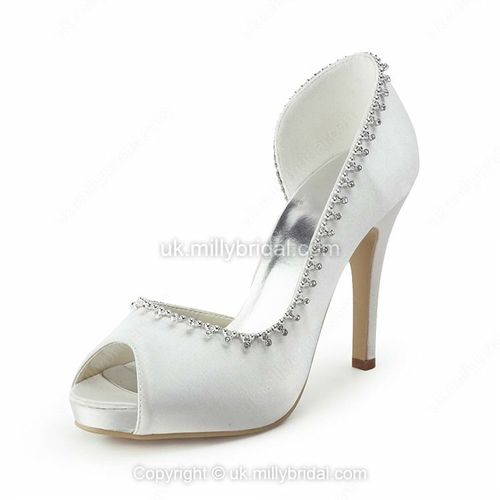 Gorgeous Satin Stiletto Heel Platform with Rhinestone Wedding Shoes -USD$54.79