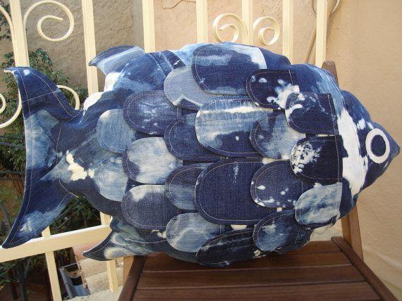 fish cushion bleached denim