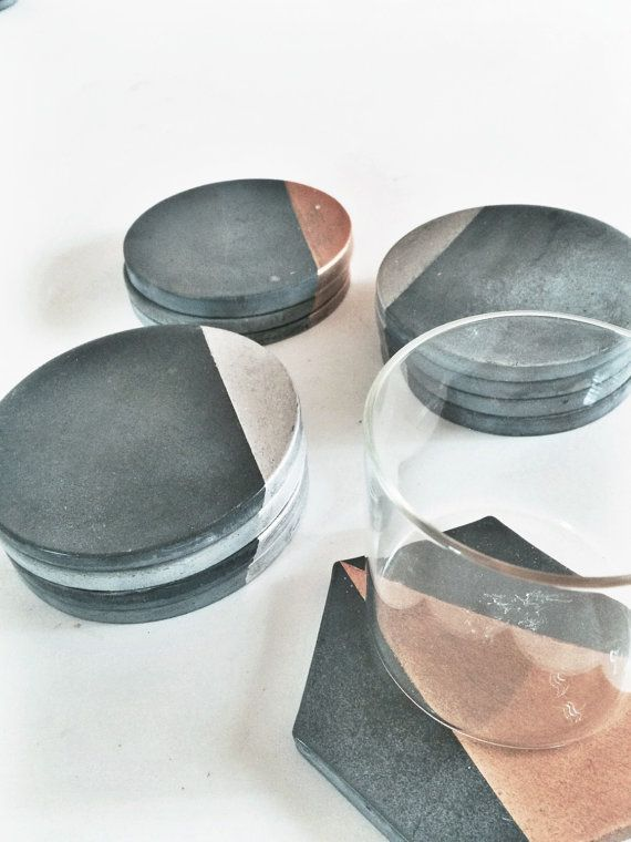 Charcoal Concrete Coaster with Silver (Set of Four)