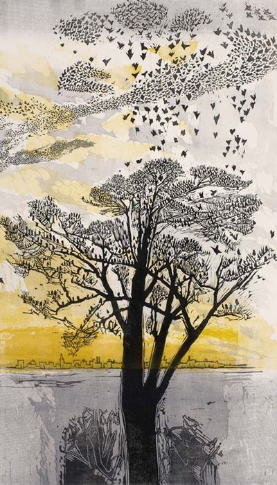 gertrude hermes, Starlings, 1965, print, painting, illustration, tree, nature, birds, colour, landscape