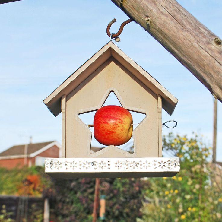 Hanging Garden Wild Bird Feeder Wooden Grey Star Apple Holder Bird Seed Tray    #Gardens2you