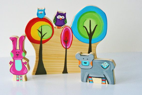Bright Rainbow Woodland Animal Playset Wooden Toy by Zooble