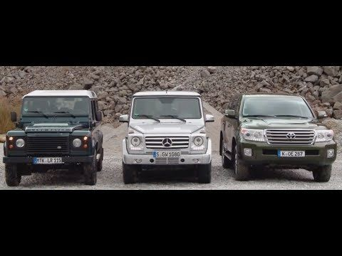 Mercedes G Modell vs Land Rover Defender vs Toyota Land Cruiser - Offroad Vergleich - YouTube