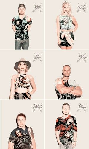 Team Arrow - Oliver Queen, Felicity Smoak, Thea Queen, John Diggle, Malcom Merlyn and Roy Harper