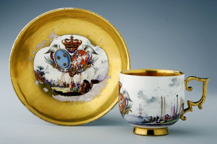 Bowl and plate from tea and chocolate service of Marie Leszczyńska by Meissen manufacture, ca. 1737, Zamek Królewski na Wawelu, presented to the Queen of France by Augustus III of Poland