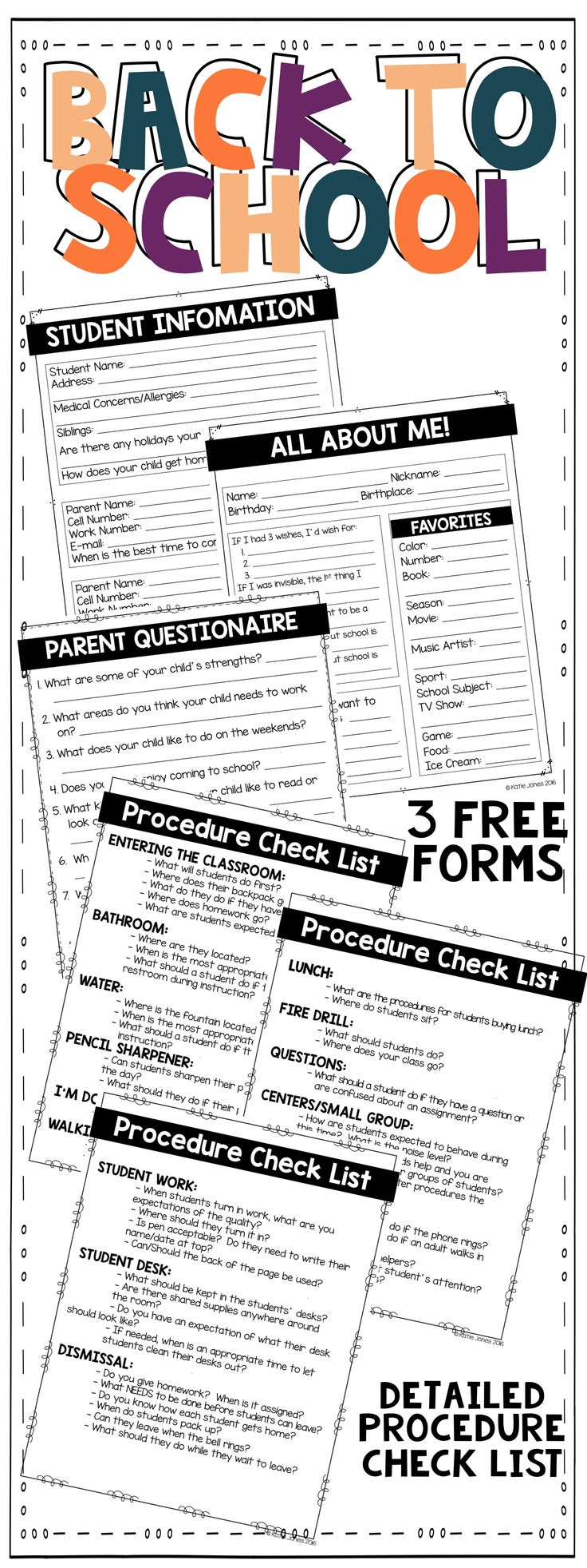 FREE!!!! 3 forms to use the first week of school: student information sheet, all about me sheet for students, and a parent questionnaire.  This FREE download also comes with a 3 page procedure check list. Use the check list when planning your first week of school to ensure no procedures are left out!