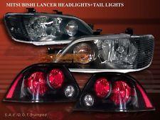 2002-2003 MITSUBISHI LANCER ES/LS/OZ JDM BLACK HEADLIGHTS + BLACK TAIL LIGHTS