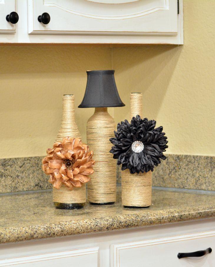 DIY: Twine Vases with Wine Bottles, Above Cabinet Decor