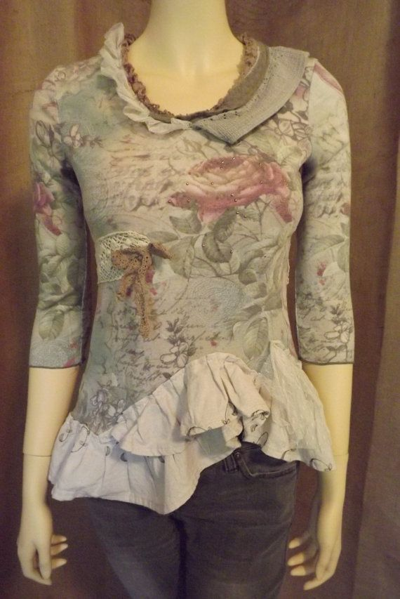 Boho Romantic Lagenlook Upcycled Rose Ruffled Vintage Lace Blouse Size S