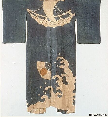 Ceremonial Robe  Period: Edo period (1615–1868) Date: 18th century Culture: Japan Medium: Raw silk / Painted resist Dimensions: 67 1/2 x 54 in. (171.45 x 137.16 cm)