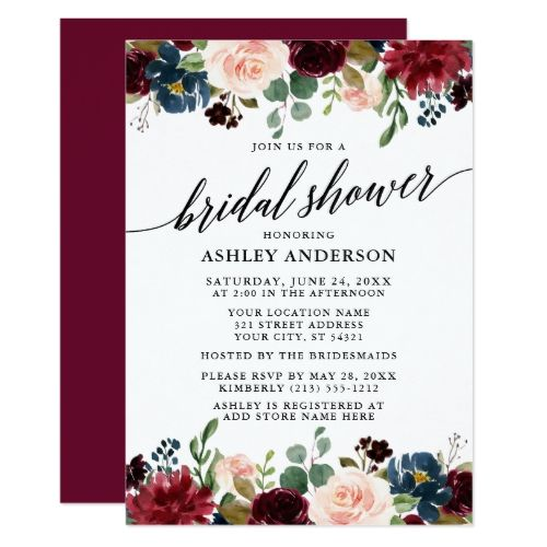 Calligraphy Burgundy Blue Floral Bridal Shower Invitation