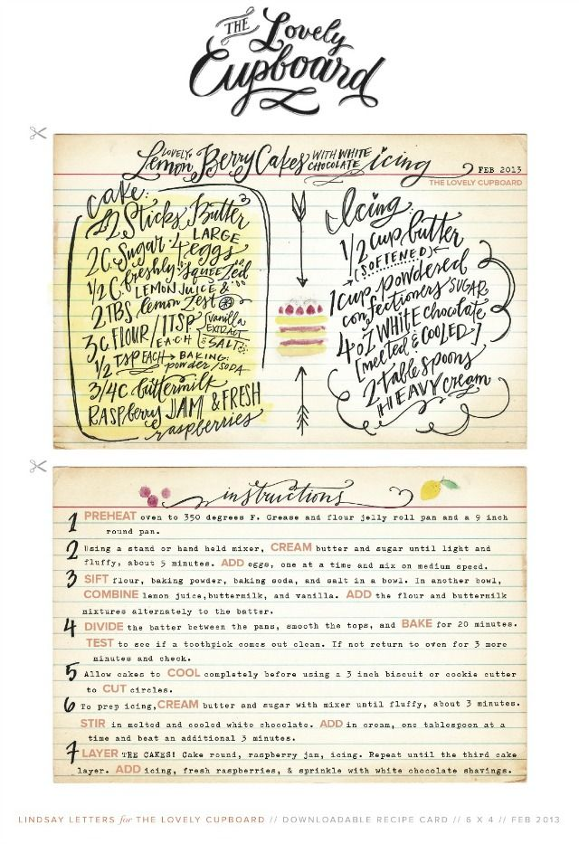 Free hand lettered recipe card by Lindsay Letters #printables