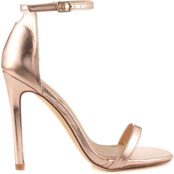Liliana Women's Elegance - Rose Gold ($50) ❤ liked on Polyvore featuring shoes, heels, zapatos, gold, strappy high heel shoes, liliana shoes, stiletto heel shoes, ankle wrap shoes and rose gold shoes