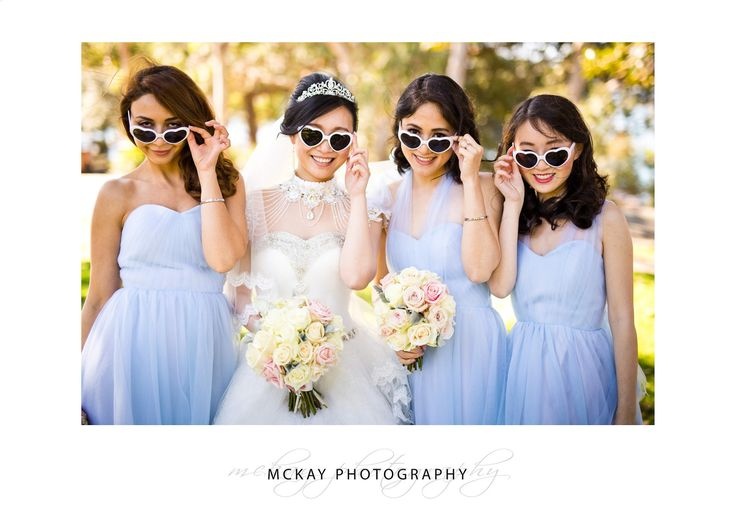 Christy & her bridesmaids in very cool heart shaped sunglasses :)
