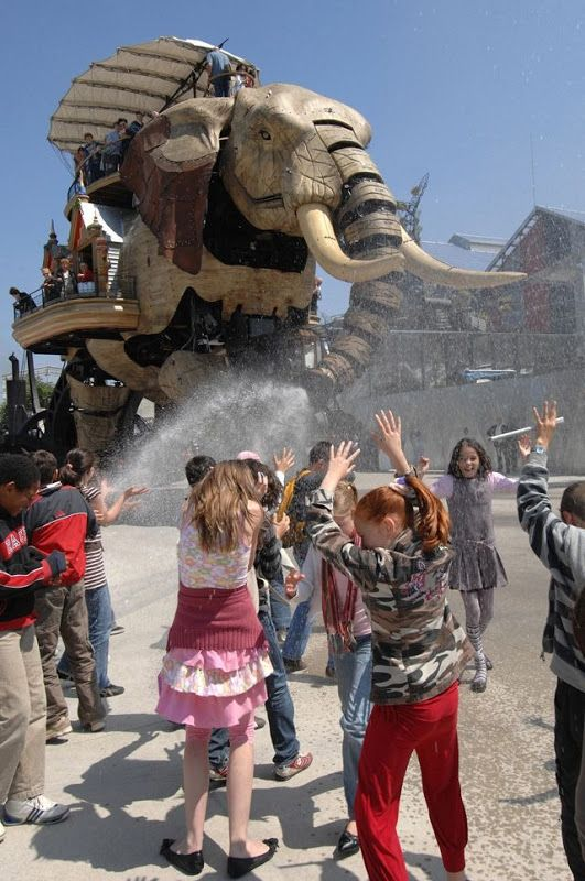 """Machines of the Isle of Nantes or """"Les Machines de l'île de Nantes"""" are a set of gigantic mechanical animals designed by Francois Delarozière and Pierre Orefice as an artistic, touristic and cultural project based in Nantes, France."""