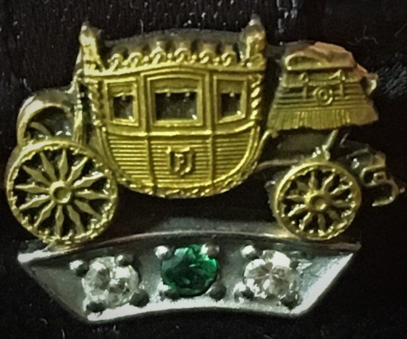 Vintage Fisher Body Service Pin 2 Diamonds 1 Emerald 45 Year Service Award Pin Nice Collectible Vintage Item No Box Handmade Antique Rings One And Other