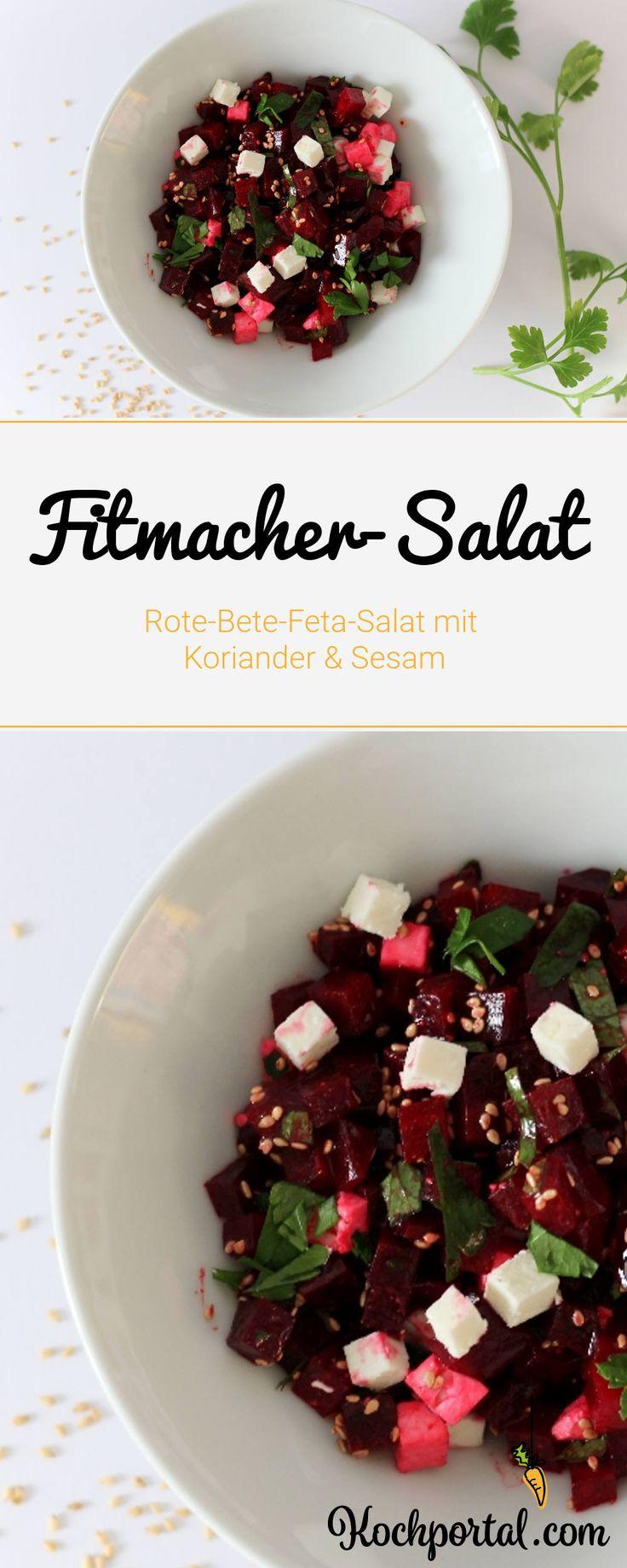 Fitmacher-Salat - Rote-Bete-Feta-Salat mit Koriander und Sesam - leichtes Salatrezept für den Winter - Rote Bete im Salat verarbeiten - Low Carb Salat