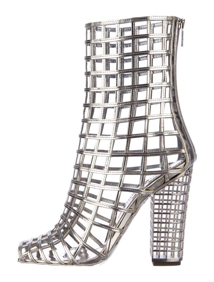 Metallic, Silver, Yves Saint Laurent Caged Leather Mid-Calf Boots with Stacked Heels, Square Toes, and Counter Zip Closures.