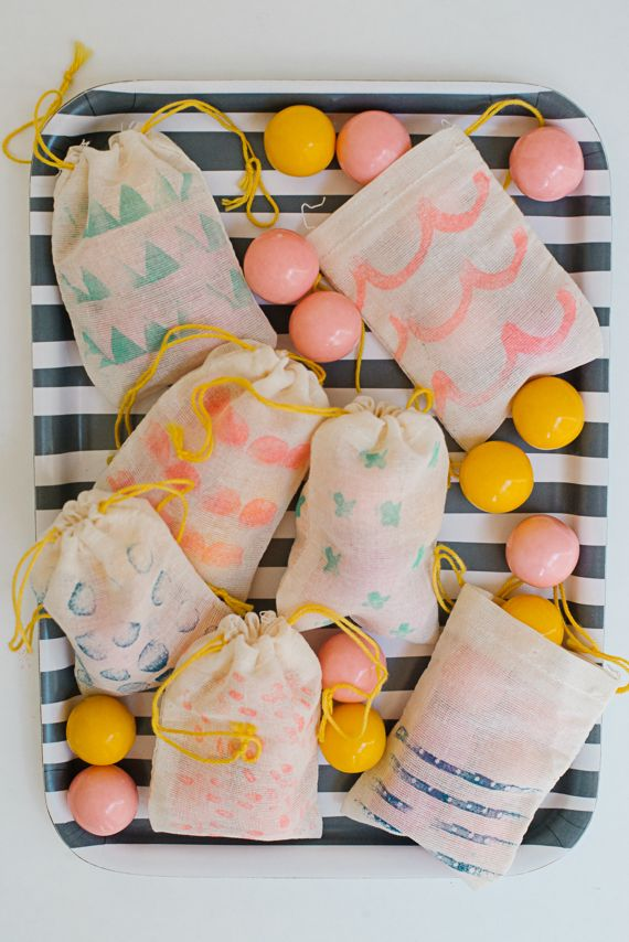 DIY Stamped Muslin Favor Bags via You Are My Fave | minted