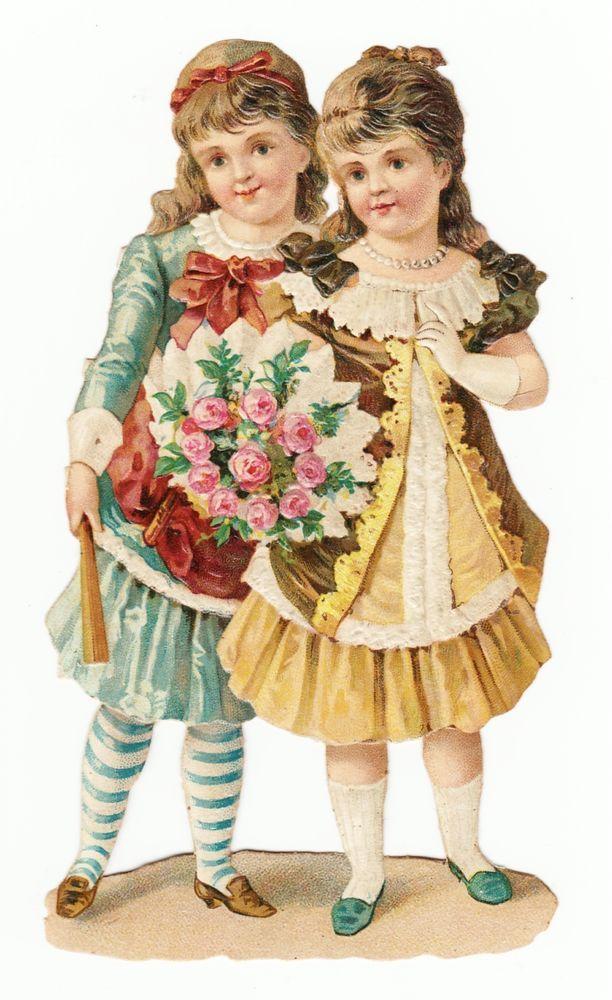 Oblaten Glanzbild  scrap die cut chromo / zwei Mädchen mit Blumenstrauß:
