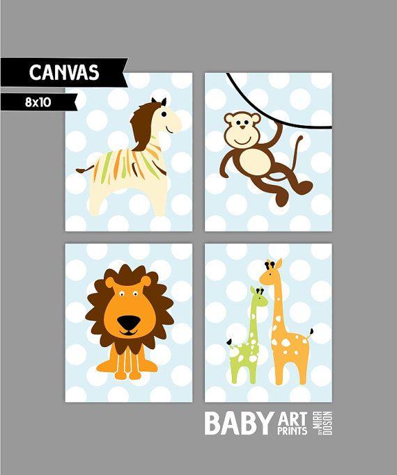 Baby Boy Nursery canvas art Set of 4 8x10. Jungle by babyartprints