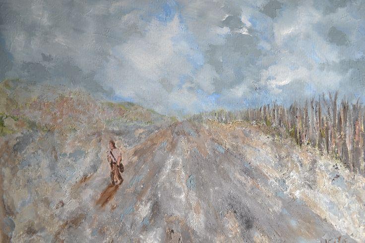 """""""Caminos"""", técnica: Acrílicos, óleos y pigmentos sobre papel, medidas 35 x 50 cm."""
