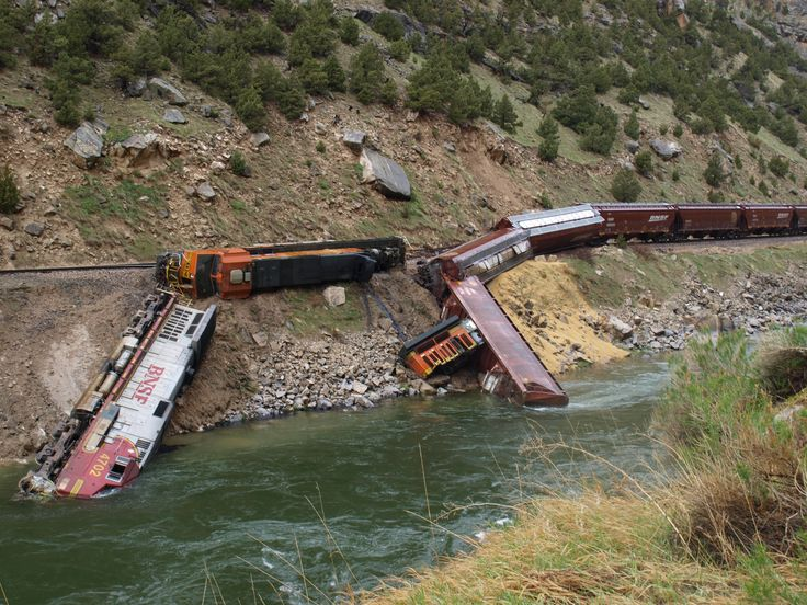 Train Wreck in Wind River Canyon