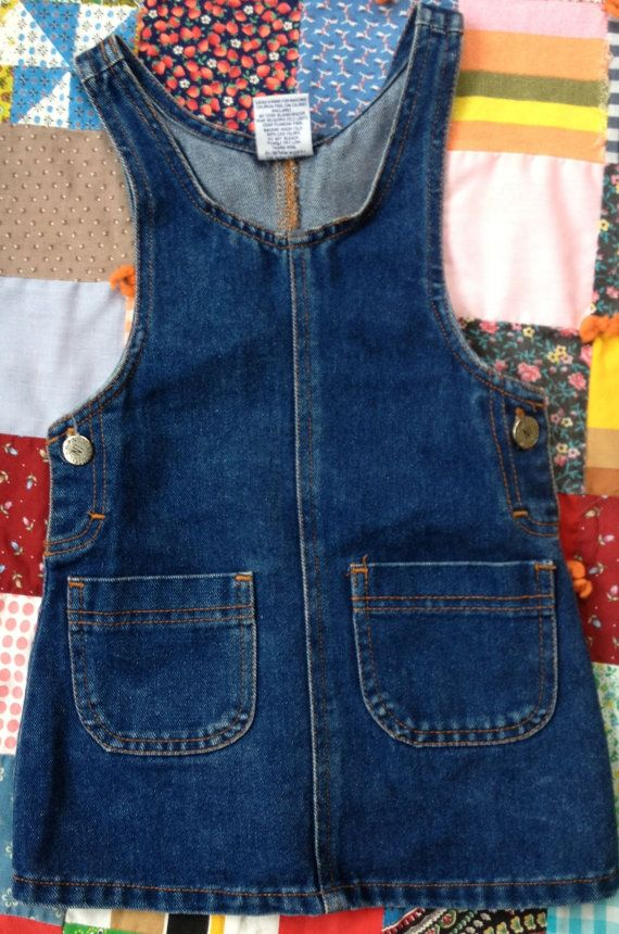 80s Denim Jumper Dress Kids 2/3 by lishyloo on Etsy, $9.00