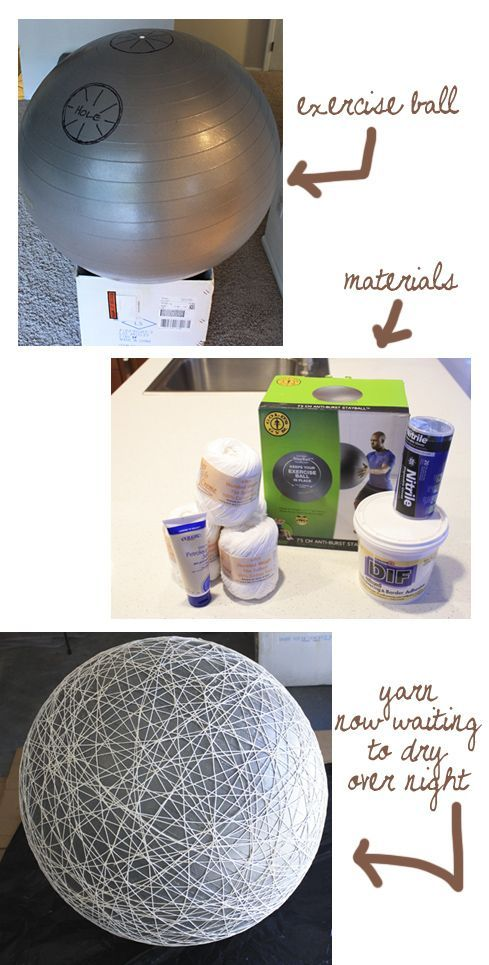 Make a huge ball... using the exercise ball as a balloon. This can be used to make lamps, piñatas etc. Or perhaps a huge bowl out of papier mache.