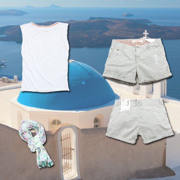 www.40weft.com #holidaylook #40weft #SS2014 #whitelook #outfit #womenfashion #fashionblogger #fashion #shorts #foulard #tee #golook #repin