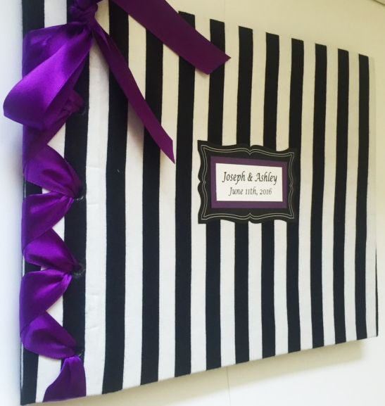 Black And White Stripe Guestbook Halloween Wedding Party Gothic Fall Custom Colors