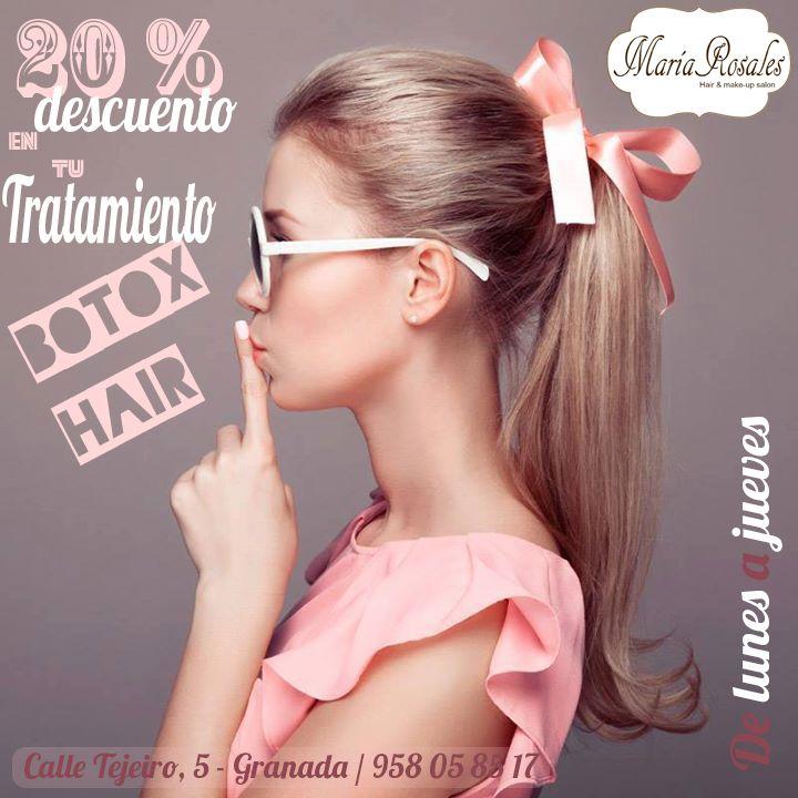 Diciembre 20% de DESCUENTO, en vuestro tratamiento BOTOX HAIR!!!  Este tratamiento, suaviza, repone, mejora la vitalidad y la flexibilidad del cabello, le da brillo…. Los resultados son impresionantes, y dejan el cabello brillante y sin frizz.