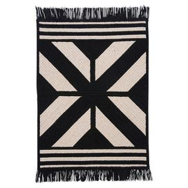 Braided and reversible wool-blend rug with a Southwestern motif and fringe trim. Made in the USA.  Product: RugConstruction Material: 65% Polyester and 35% woolColor: BlackFeatures:  Made in the USABraidedReversible Note: Please be aware that actual colors may vary from those shown on your screen. Accent rugs may also not show the entire pattern that the corresponding area rugs have.Cleaning and Care: Vacuum with hard surface attachment only. Spot clean with any common household cleaner