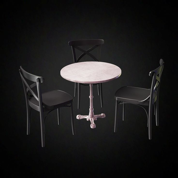 cafe table and chairs set 3d furniture model use promo code pin3d and