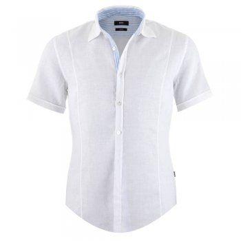 Hugo Boss Marco Short Sleeve Linen Shirt - White