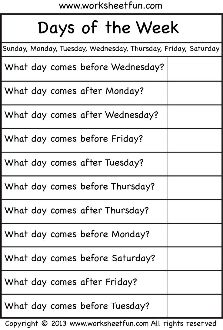 days of the week (With images) English lessons for kids