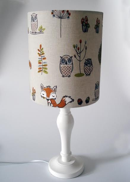 Specially made for you, this fabric childrens lampshade in woodland creatures design is available in bedside or ceiling fittings and in two