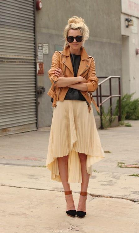 Hi-lo hem skirt + tan biker jacket= awesome!