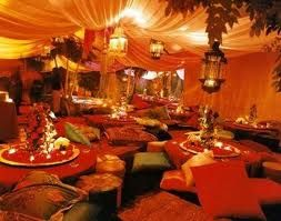 Fabric tents, hanging lanterns, low tables, floor cushions...