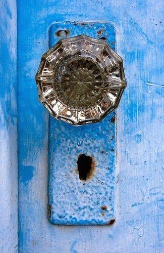 Blue Door With Glass Door Knob