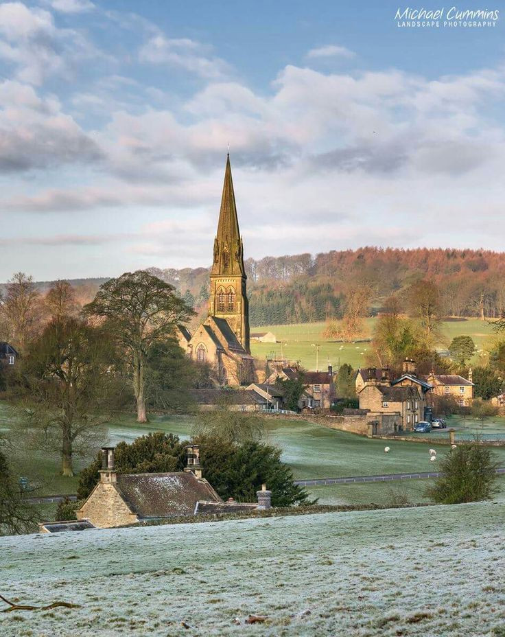 Edensor - Chatsworth's 'model village' early morning in the frost.