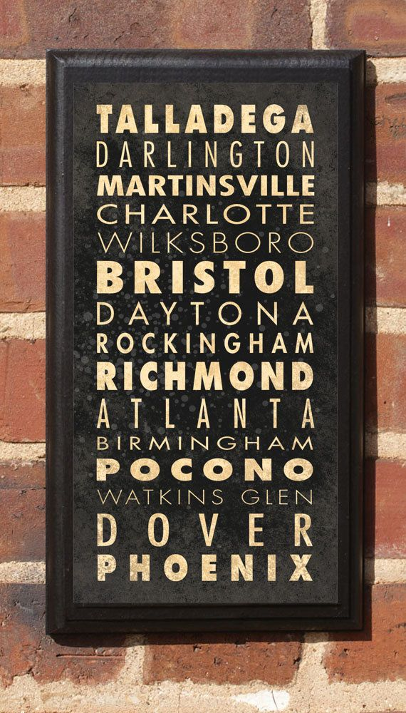 NASCAR Track List Vintage Style Wall Plaque / Sign