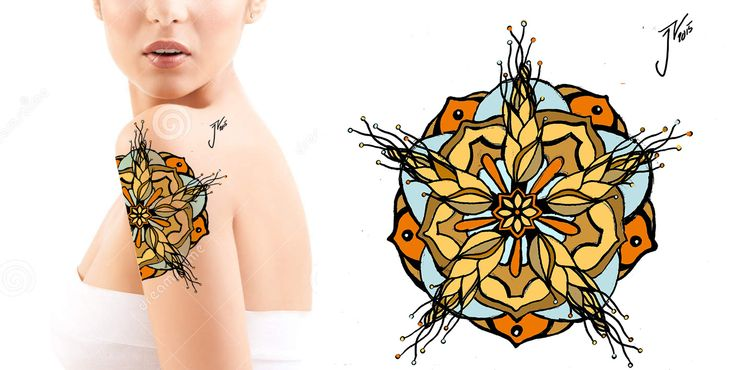 I made this shoulder tattoo desing for myself in spring 2015. The tattoo was taken in Shaman Art's Tattoo in Oulu, Finland.  #tattoodesign #shouldertattoo #finnishartist #juliavornanen