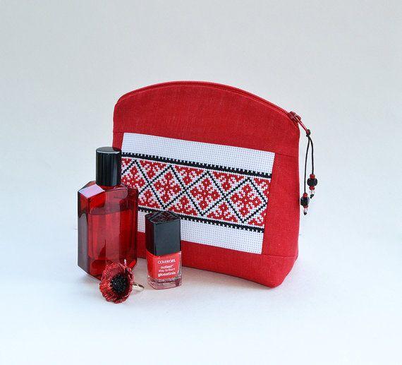 Folk Cross stitch pouch, Red linen cosmetic bag, Bohemian Zipper Make up purse, Folk Cosmetic Case, Traditional Ethnic, Vegan purse