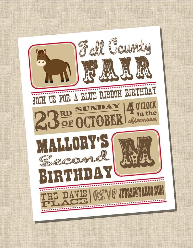Vintage County Fair Party Collection: Printable Invitation. $13.95, via Etsy.